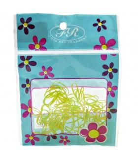 Резинки для волос силиконовые маленькие желто-салатовые набор