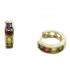 Серьги позолоченные кольца конго из медицинской стали с цирконами