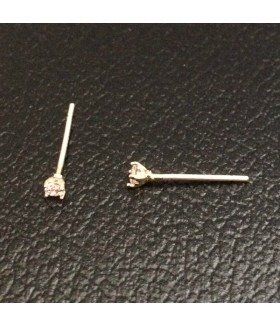 Серьги гвоздики маленькие позолоченные из медицинской стали с цирконом
