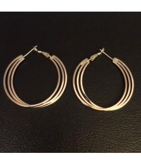 Серьги позолоченные кольца тройные из медицинской стали 3 см