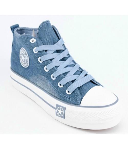 Кеды CAROC высокие джинсовые голубые